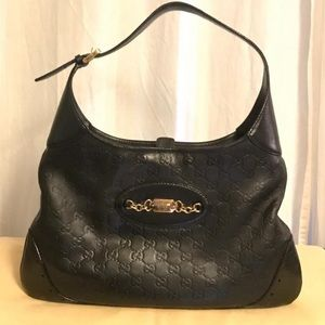 Auth Gucci Leather Embossed Guccissima Hobo Bag
